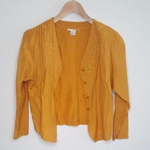 5/$20 Vintage Mustard Jacket Blouse